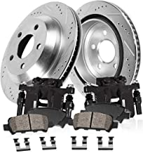 CCK02318 FRONT Powder Coated Black [2] Calipers + [2] Zinc Plated D/S Rotors + [4] Ceramic Brake Pads