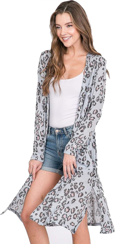 Upsoelle Animal Print Long Sleeve Kimono Cardigan Sweater with Pockets