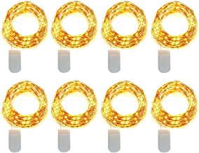 8 Pack 10ft 30 Micro Starry LED String Lights, Waterproof Fairy Copper Wire Lights, Moon Lights Battery Operated (Included...
