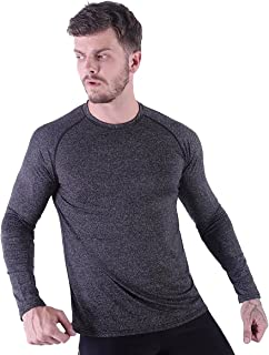 HMILES Mens UV Sun Protection Long Sleeve Fitness Top Male Quickdry Raglan Sleeve Exercise Tshirts Lightweight Running Spo...