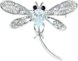 Gyn&Joy Women's CZ Crystal Rhinestone Bouquet Insect Dragonfly Damselfly Brooch Pin