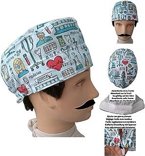 Cappello per chirurgia STRUMENTO MEDICO Capelli Corti UOMO chirurgo, dentista, veterinario, asciugamano sulla fronte, tend...