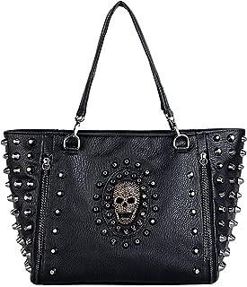 Women Skull Tote Bag PU Washed Leather Rivet Studded Ladies Purse Shoulder Bag