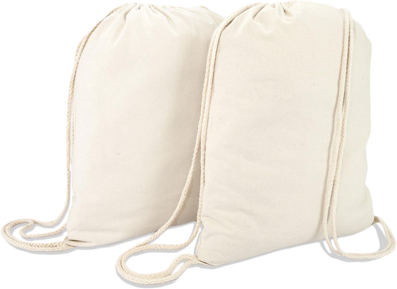 DALIX Canvas Drawstring Bag String Backpack Gym Mens Womens Natural Beige 2 Pack
