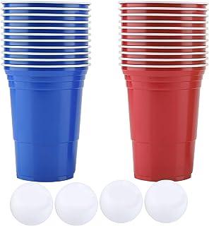 Ensemble de bière-pong de jeu à boire Beer Coupes de bière-pong-22 tasses Kit d'accessoires de 4 balles de ping-pong pour ...