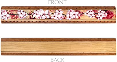 """product image for 12"""" Solid Wood Artisan Ruler - Cherry Blossoms - Measures Inches & Centimeters - Made in USA"""