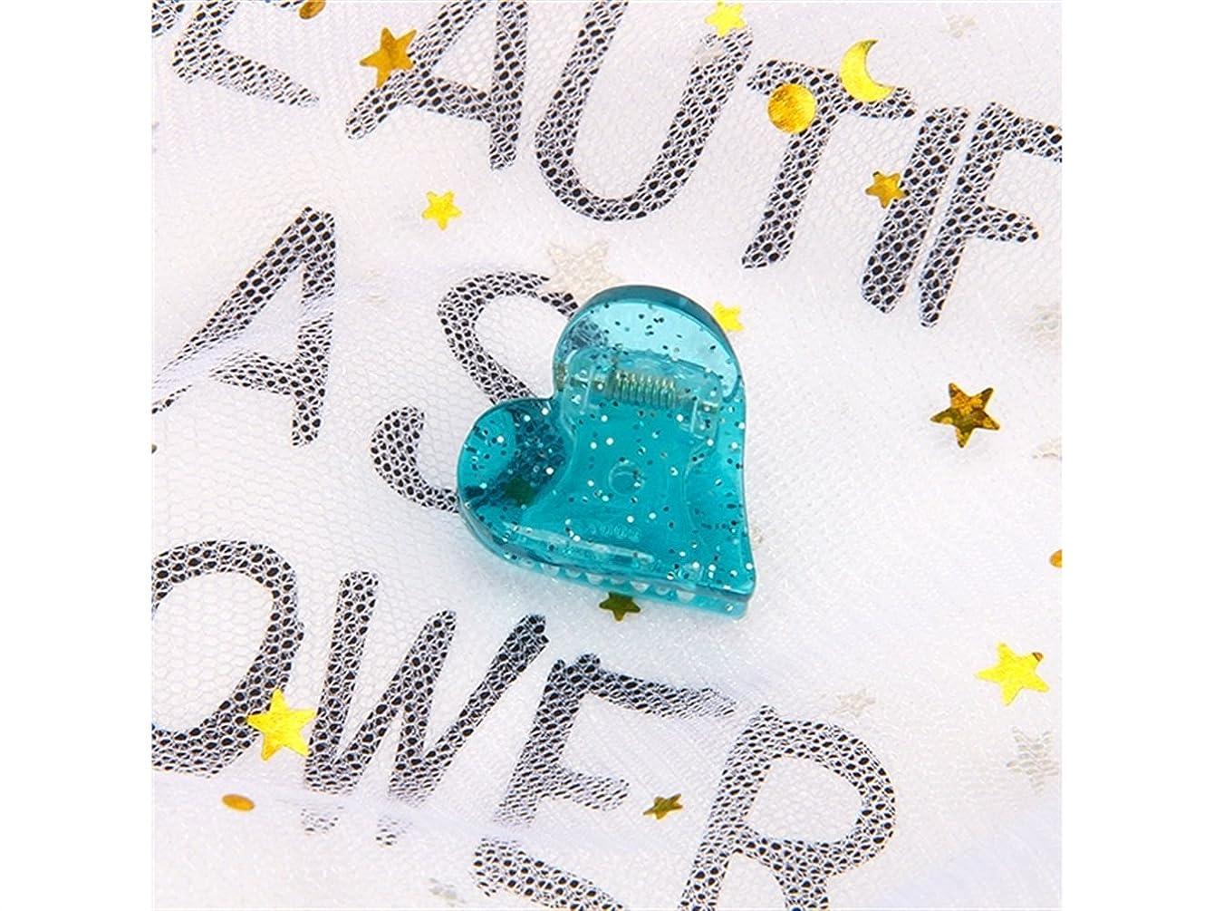 やりすぎ装置大学Osize 美しいスタイル 子供のハート型ヘアピンミニ爪クリップヘアアクセサリー(ブルー)