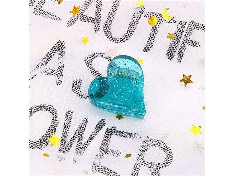 請願者困った早めるOsize 美しいスタイル 子供のハート型ヘアピンミニ爪クリップヘアアクセサリー(ブルー)