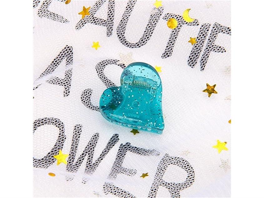 対称抵抗する旋律的Osize 美しいスタイル 子供のハート型ヘアピンミニ爪クリップヘアアクセサリー(ブルー)