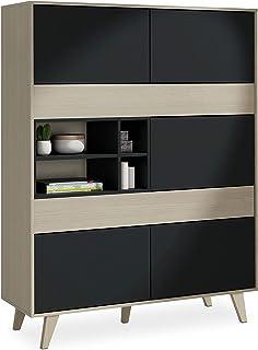 Habitdesign 0Z6636R - Mueble aparador Vitrina Acabado Color Roble y Gris Oscuro Medidas 121 cm (Ancho) x 156 cm (Alto) x...