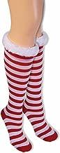 Forum Women's Candy Cane Striped Socks with Fur Trim Knee