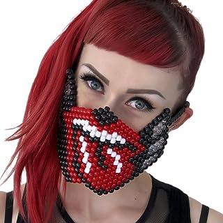 Kandi Gear Mascara Kandi de Extraterrestre que Brilla en la Oscuridad, mascara de musica electronica, mascara de halloween, mascara de cuentas, mascara para estivales de musica y fiestas