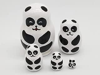 A YuanGu Handmade Panda Nesting Dolls 5pcs, Pieces Handmade Toys for Children Kids, Authentic Russian Wooden Matryoshka,Christmas,Valentine's Day,Mother's Day,Birthday,Halloween,Home Room Deco