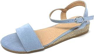 TOP Moda Ulana Women's Open Toe Ankle Strap Espadrille Sandal