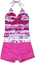 iEFiEL Big Girls Youth Peace Signs Heart Print 2 Piece Tankini Swimwear Swimsuit Hot Pink Size 16