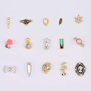 Gold Nail Charms 3d Leaf Craystl Rhinestones Ab Drop Stone Cute Snake Bees Moon Design Nail Art Professional Supplies 30pcs