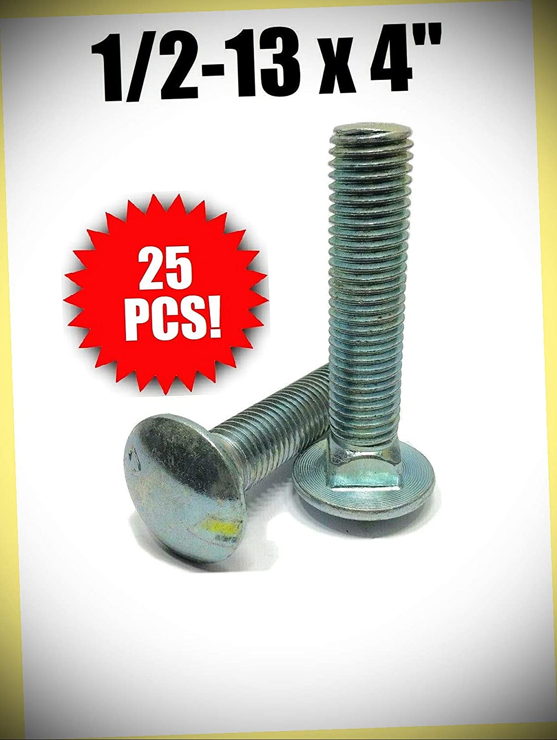 Package Low price of 25 pcs Charlotte Mall 1 2-13 x Carriage F Plated Bolt Zinc A307 4