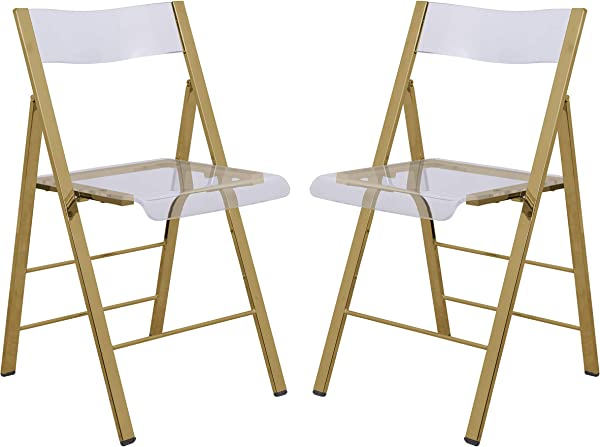 LeisureMod Milden Modern Acrylic Folding Chairs Set Of 2 Gold