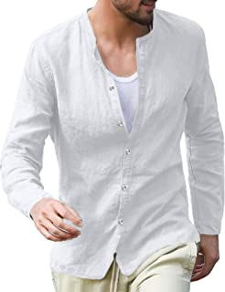 Pacinoble Men Linen Henley Shirts Long Sleeve Basic Yoga Top Casual Blouse Summer Beach Henley Shirts Tee