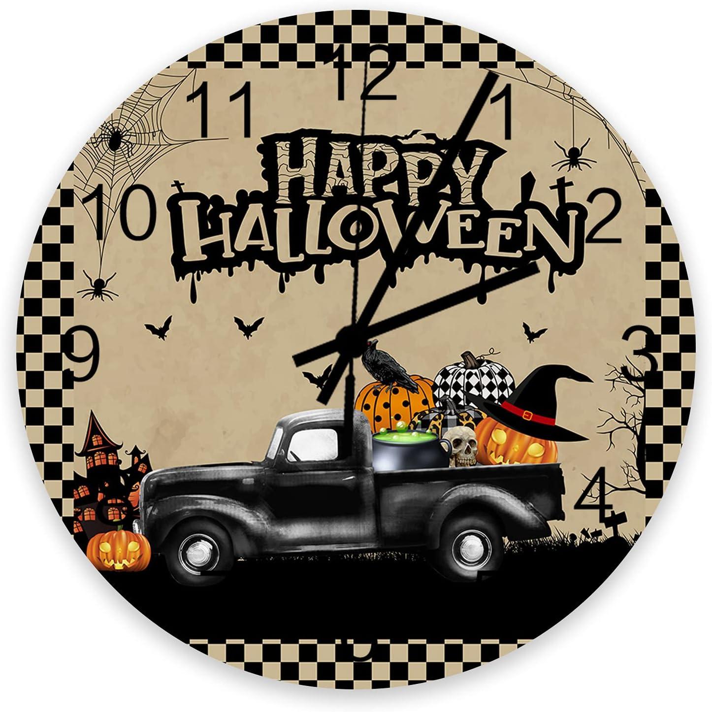 Home Decor 12 Large discharge sale Inch Round Wooden Pum Truck Clock Halloween Branded goods Black