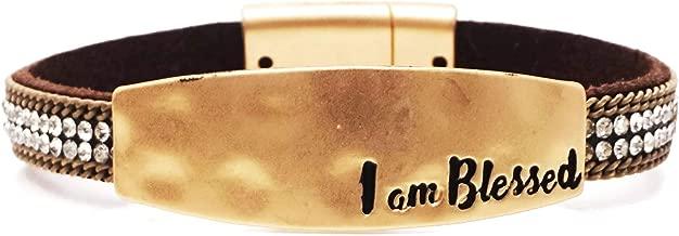 I am Blessed Engraved Hammered Textured Charm Rhinestone Leather Magnetic Bracelet