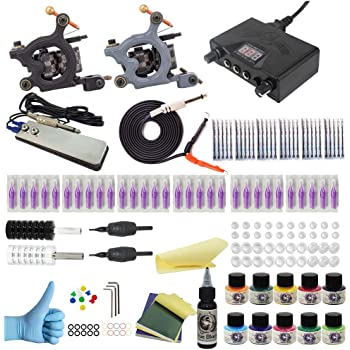 Wormhole Tattoo Complete Tattoo Kit for Beginners Tattoo Power Supply Kit 10 Tattoo Inks 30 Tattoo Needles 2 Pro Tattoo Machine Kit Tattoo Supplies TK035