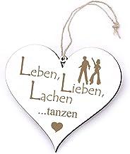 Bord hart leven, liefde, lachen - dansen - met motief - 13 x 12 cm