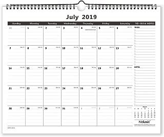 Nekmit 2019-2020 Monthly Wall Calendar Academic Year, 15 x 12 Inches, Wirebound, Black