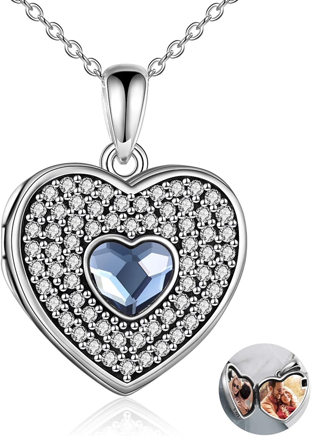 EXRANQO Personalized Heart Locket Necklace online shopping Max 40% OFF Sterling Silver Flowe