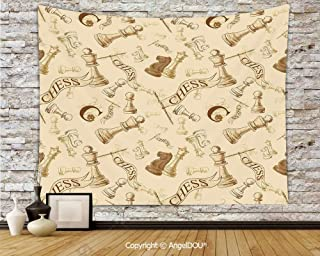 AngelDOU Beige Wall Hanging 3D Printing Tapestry Various Sized Chess Game Pieces Players Vintage Syle Retro Backgound Urban Bohemian Decorative Bedspread Picnic Bed Sheet Picnic.W70.8xL59(inch)