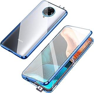 Jonwelsy 携帯電話 ケース Xiaomi Poco F2 Pro/Redmi K30 Pro に適し 360度 前面と背面 強化ガラス 磁気吸着 金属フレーム カバー 完全保護 耐衝撃 擦り傷防止 磁性技術 K30 Pro (青)