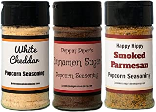 Premium | POPCORN SEASONING | Variety 3 Pack | Smoked Parmesan | Cinnamon Sugar | White Cheddar | 3.5 fl. oz. | Fat Free | Saturated Fat Free | Cholesterol Free