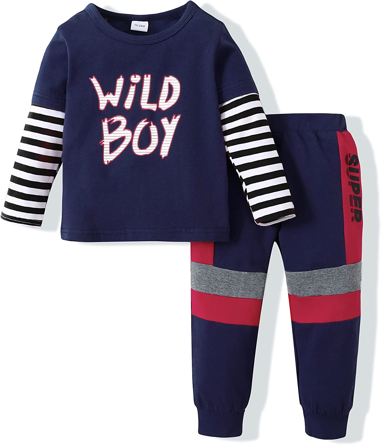 Toddler Baby Boy Clothes Long Sleeve Tops Pants Set Kids Little Boy Clothing Sweatsuit Fall Winter Outfits Set