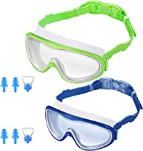 KNGUVTH Kids Swim Goggles, Pack of 2 No Leaking Swimming Goggles Anti-Fog UV Protection..