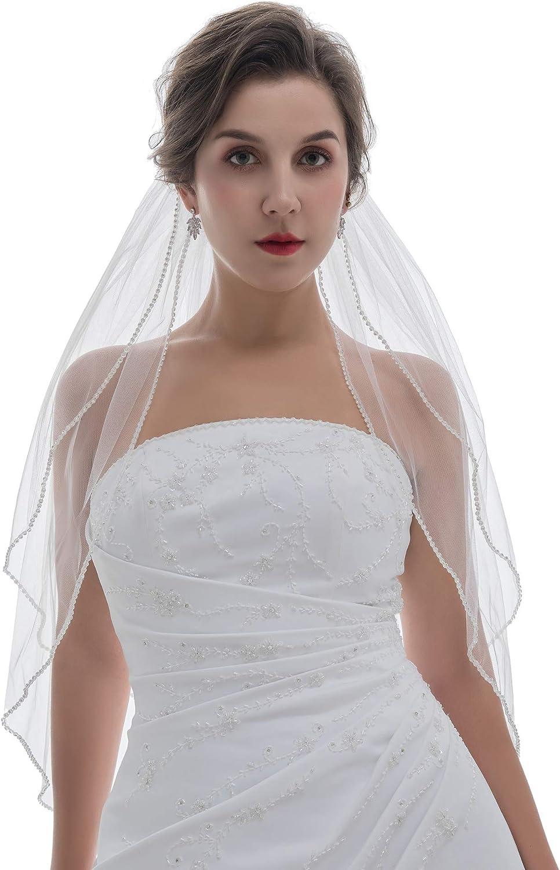 SAMKY 2T 2 Tier Rhinestones Crystal Edge Bridal Veil
