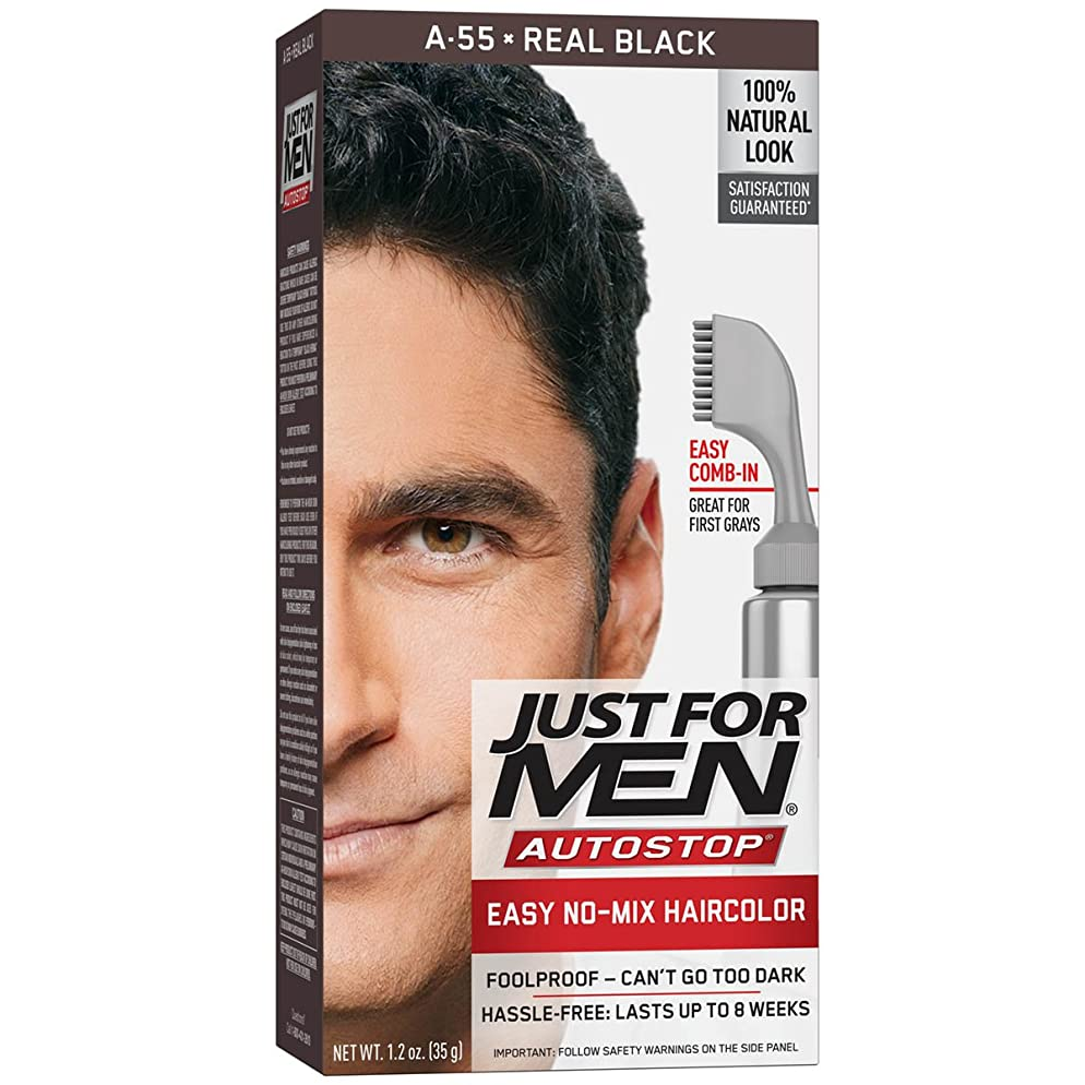 Just For Men AutoStop Men's Hair Color, Real Black , 1 Count