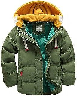 D.IIZOO 子ども ダウンジャケット ダウンコート 中綿コート キッズ 防寒 フード付き アウター 男の子 冬 ボーイズ (グリーン, 140cm)