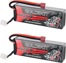 GOLDBAT 2S Lipo Battery, 6200mAh 7.4V 50C RC Battery 2 Pack Hard Case with Deans Plug for RC Evader BX Car RC Truck RC Truggy RC Heli Airplane Drone