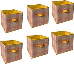 SHONPY Home Storage Foldable Box Household Organizer Fabric Cube Bins Basket Container, 6 Packs (Orange)