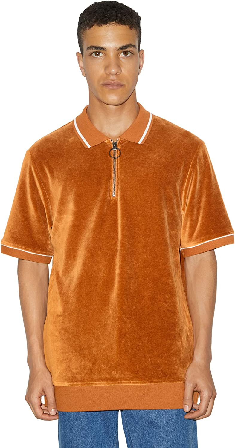Mens Vintage Shirts – Casual, Dress, T-shirts, Polos American Apparel Mens Stretch Velour Short Sleeve Zip Up Polo $58.00 AT vintagedancer.com
