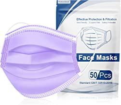 Hotodeal 50 Pcs Purple Disposable Face Masks, 3 Ply Face Masks Disposable Mask, Breathable Lightweight Facial Masks for Adult, Men, Women, Indoor, Outdoor Use