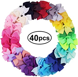 """Owlike 40pcs Girls Hair Bows Headbands Grosgrain Ribbon Alligator Clips Hair Accessories for Toddler Baby Girls Kids, Multi-colored 3.15"""" Hand-made Hair Decorations for Girls"""