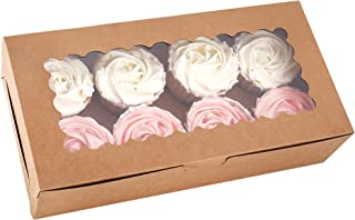 Tcoivs 30-Set Cupcake Boxes with Window Hold 8 Standard Cupcakes, 12.3'' x 6.3'' x 2.5'' Brown Food Grade Kraft Cupcake Co...
