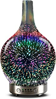 Essential oil diffuser 3D Glass Starry Sky Aromatherapy Oil Diffuser Cold Mist Ultrasonic Humidifier With 7 Color Changing LED 120ml, Home, Office, Yoga, Baby, Sleep,Water shortage automatic shutdown