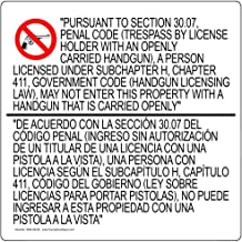 Texas 30.07 Concealed Carry Bilingual Label Decal, 24x24 inch Vinyl for Alcohol/Drugs/Weapons by ComplianceSigns