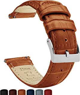 Alligator Grain Leather - Quick Release Leather Watch Bands - Choose Color, Length & Width - 16mm, 18mm, 19mm, 20mm, 21mm, 22mm, 23mm, or 24mm Standard or Long