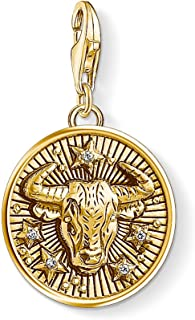 Thomas Sabo Femmes Hommes-Charm-Pendentif Signe Zodiacal Taureau Charm Club Argent Sterling 925 plaqué or jaune 18 carats ...