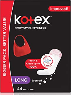 Kotex Everyday Panty Liners Long Lightly Scented, 44 Count