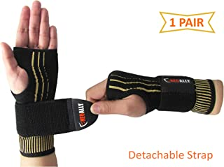 NeoAlly Copper Compression Wrist Sleeve for Carpal Tunnel Gloves with Adjustable Strap for Wrist Support in Carpal Tunnel,  Arthritis,  Tendonitis,  Bursitis and Wrist Sprain (1 Pair)