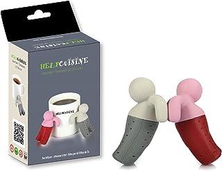 HelpCuisine infusor de te/infusionador/colador te/filtro te/infusores de te, hecho de silicona 100% alimentaria libre de BPA, infusor en forma de hombrecito (Juego de 2 infusores + caja de regalo)